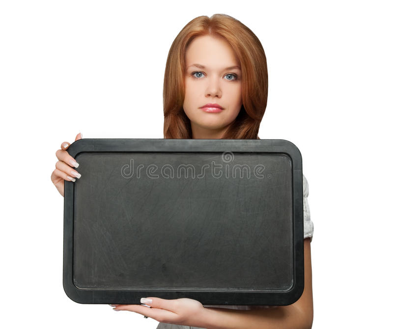 Woman holding black board stock photos