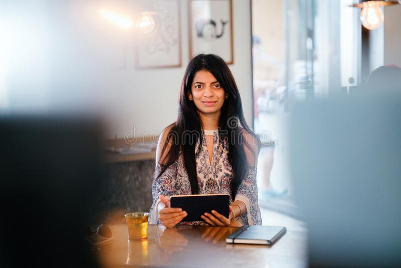 Woman Holding Black Tablet stock photos