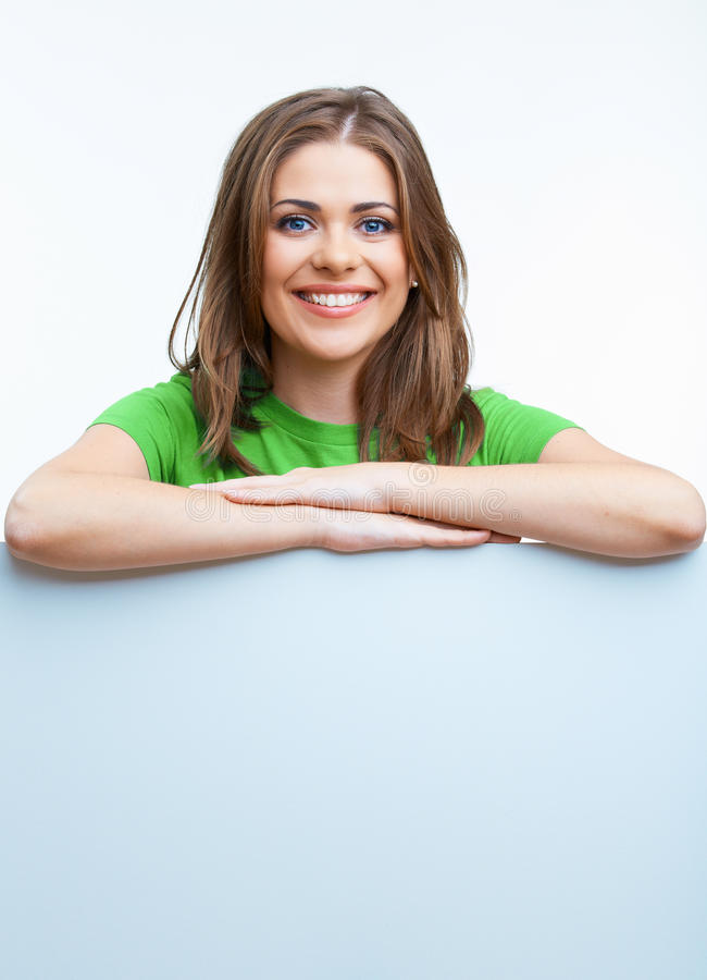 Woman holding blanc card stock photos