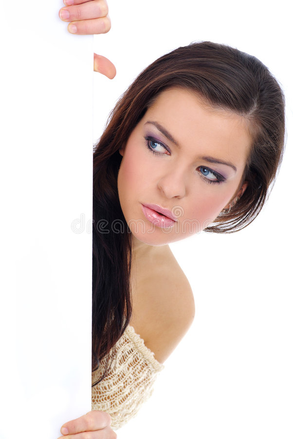 Download Woman Holding A Blank Billboard. Stock Image - Image: 7618913