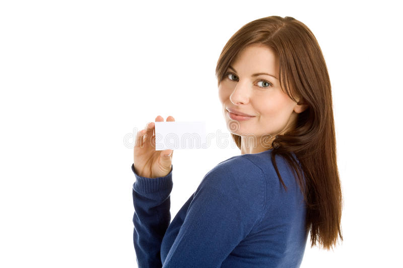 Woman holding blank business card stock photo