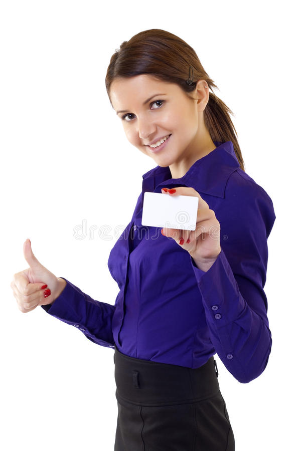 Woman holding blank business card giving thumbs up royalty free stock photo