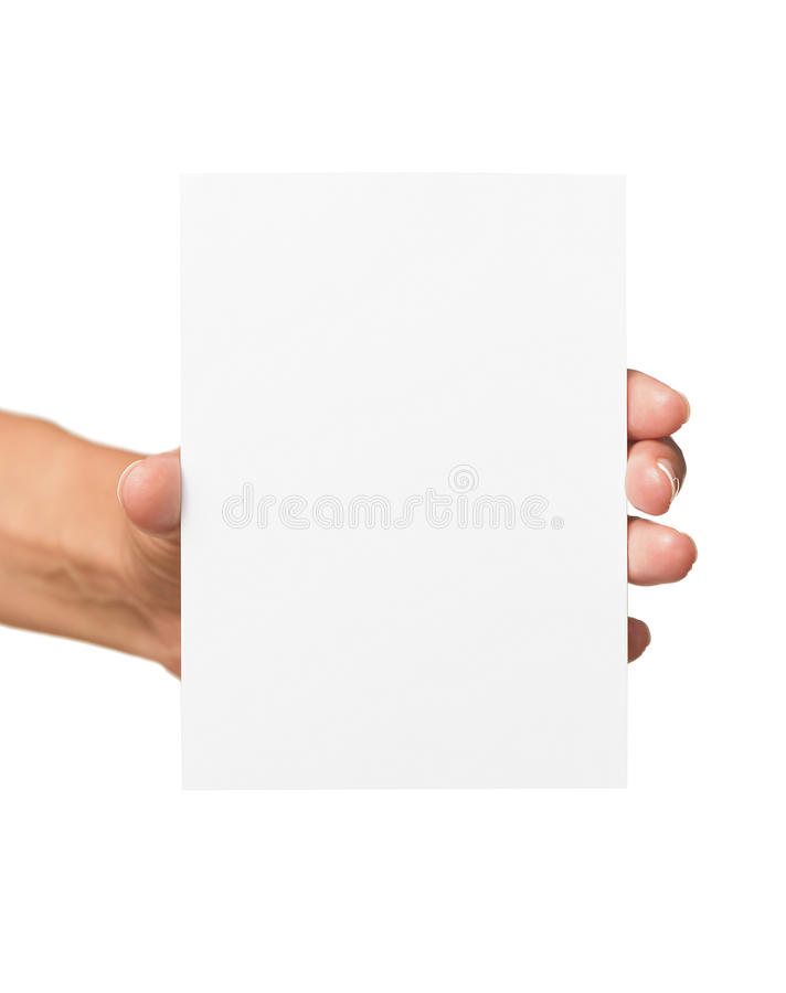 Woman holding blank business card in hand. Isolated on white stock photo