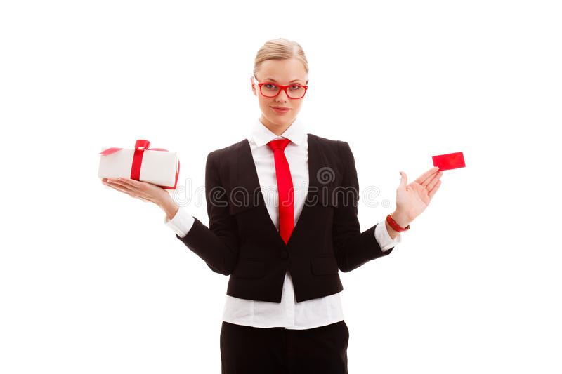 Download Woman Holding Blank Businesscard And Giftbox Royalty Free Stock Photos - Image: 28546418