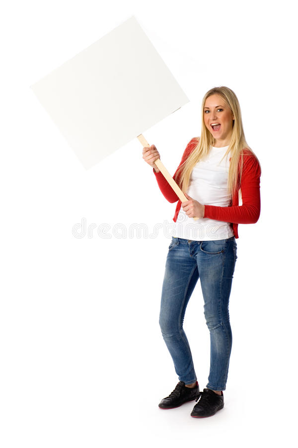 Woman holding blank poster