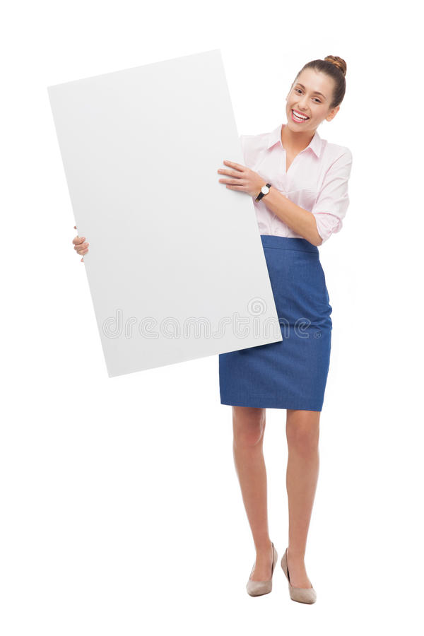 Download Woman holding blank poster stock photo. Image of attractive - 27305986