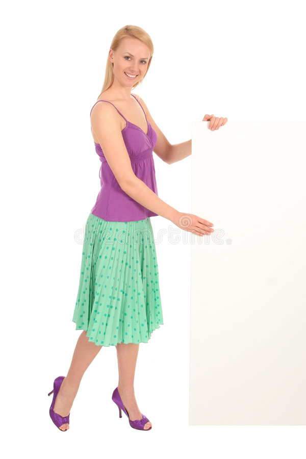 Woman holding blank poster royalty free stock photos