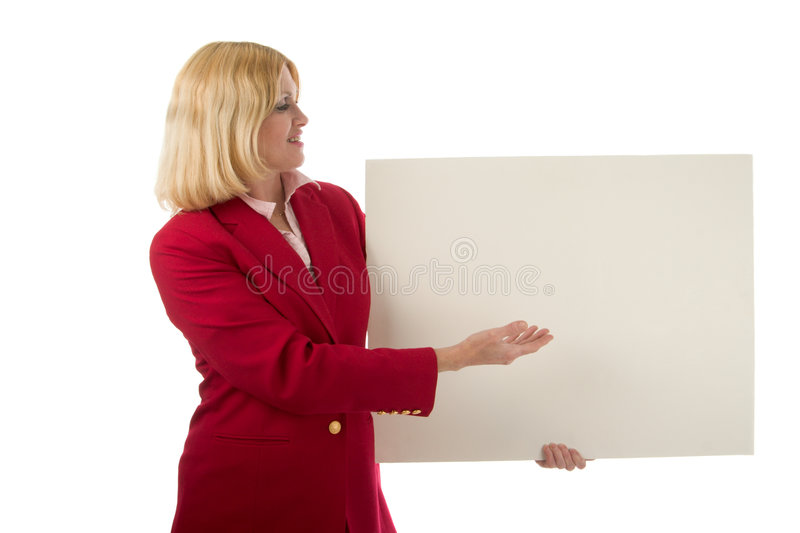 Woman Holding Blank Sign 2 royalty free stock photography