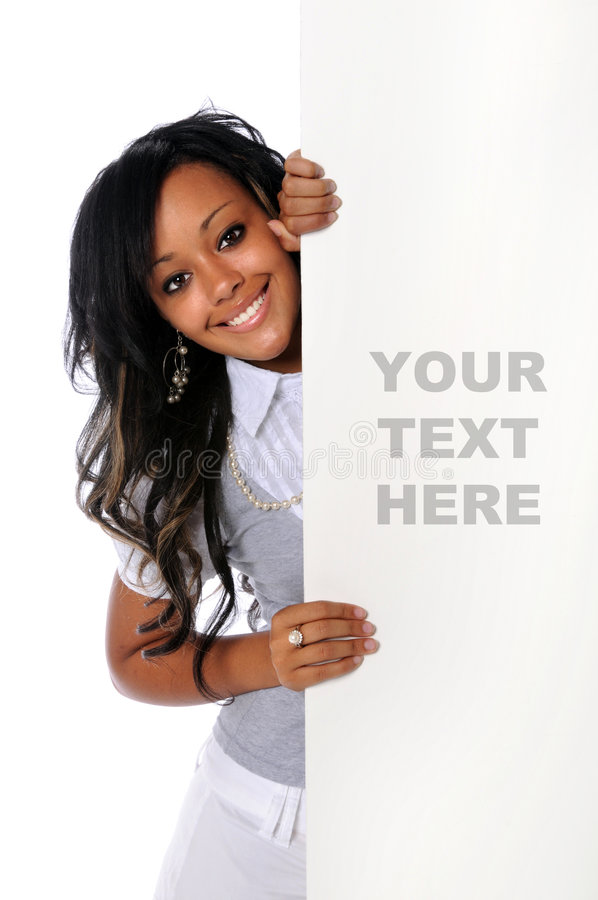 Download Woman Holding Blank Sign stock photo. Image of attractive - 6302506