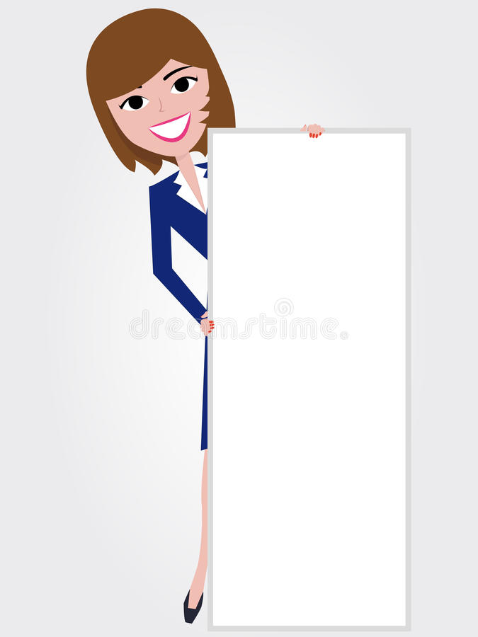Woman holding board stock illustration