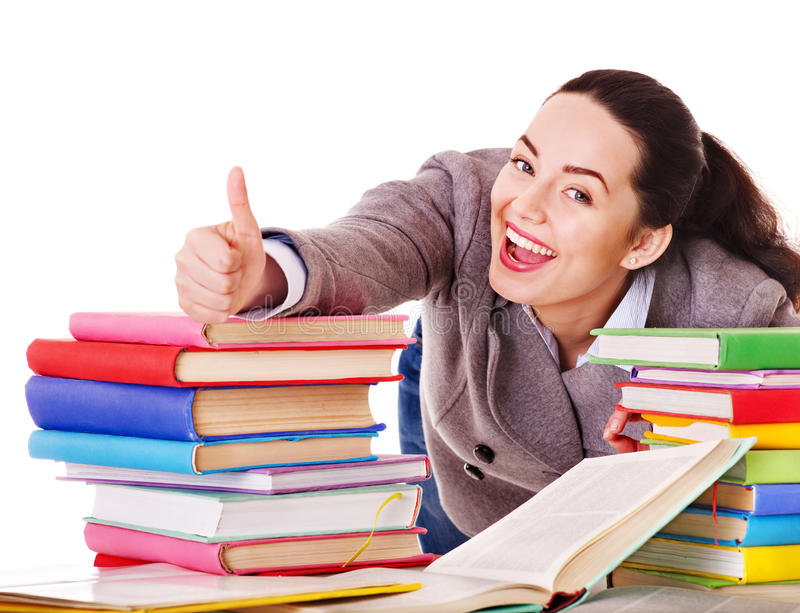 Download Woman holding book. stock photo. Image of homework, holding - 24459360