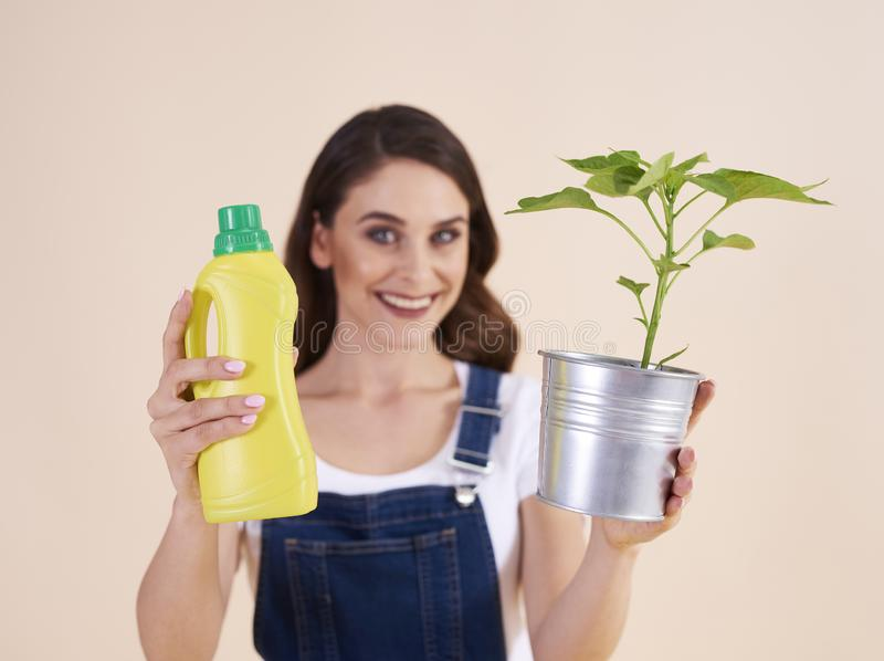 Woman holding bottle of chemical fertilizer and seedling royalty free stock image