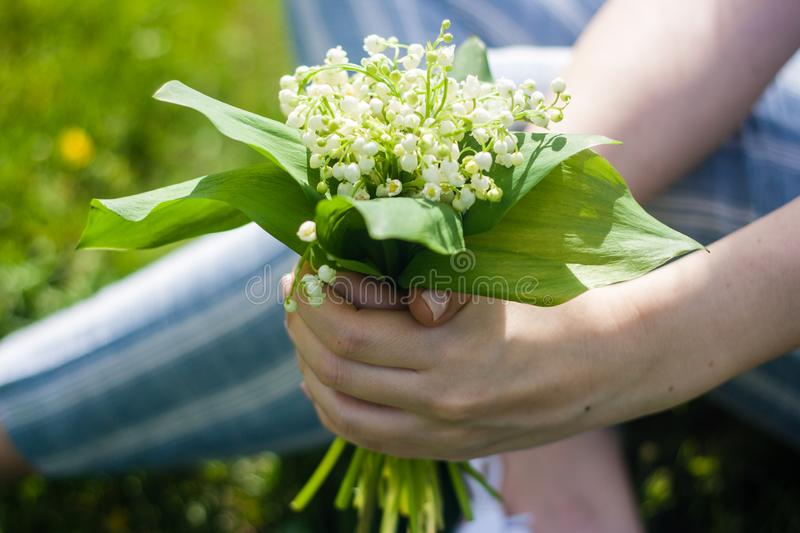 Woman holding bouquet of lilies of valley close up. Sunny day royalty free stock photo