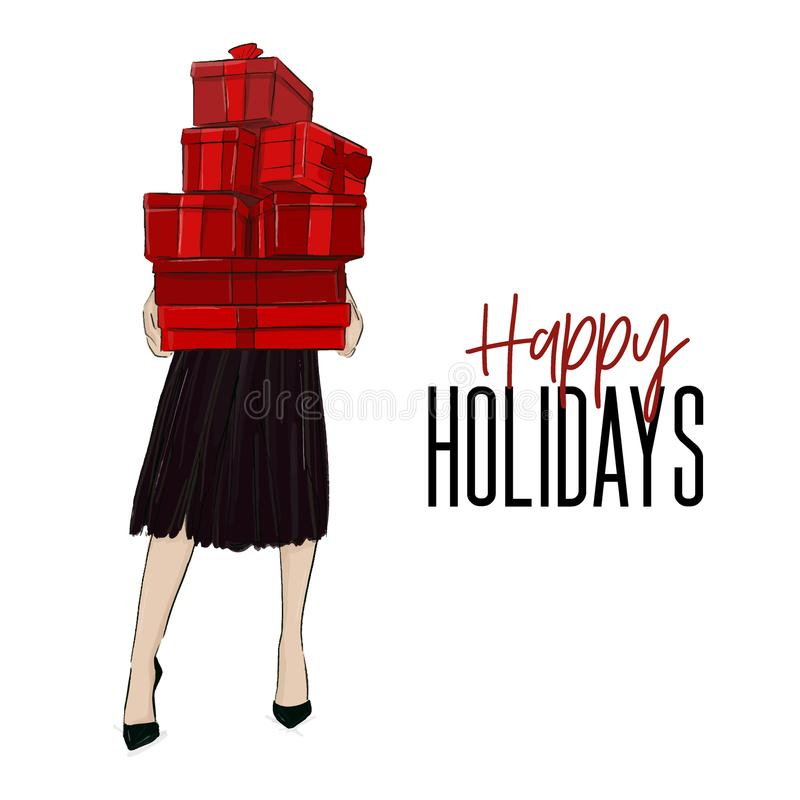 Woman holding boxes with gifts Christmas greeting card. Winter Holiday decoration. Season cartoon girl in stylish cloth holding pr. Esents. Female character vector illustration