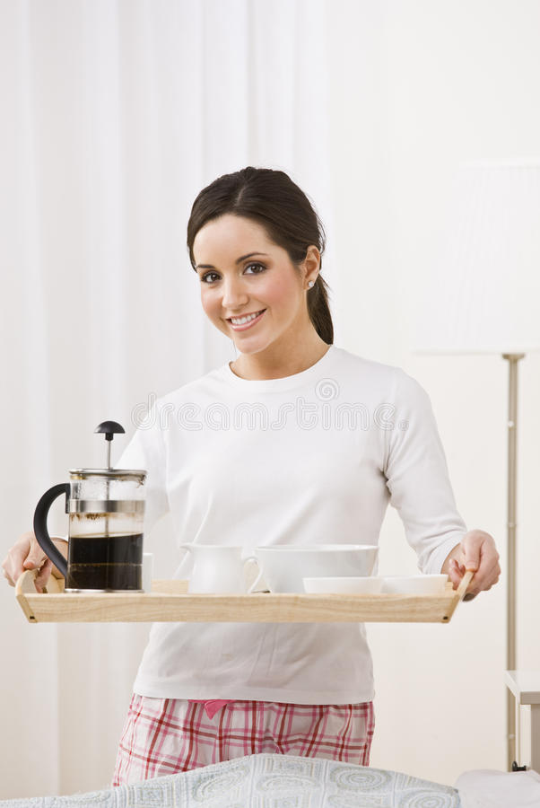 Download Woman Holding Breakfast Tray Stock Photos - Image: 9913173