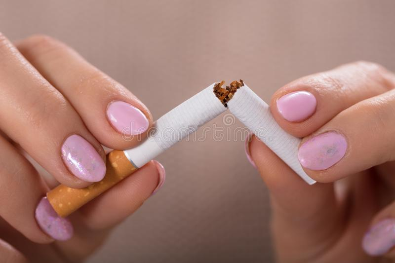 Woman Holding Broken Cigarette. Close-up Of A Woman`s Hand Holding Broken Cigarette royalty free stock images