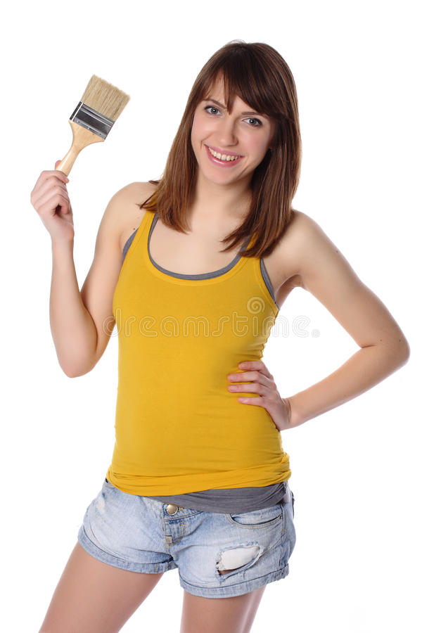 Download Woman holding brush stock photo. Image of lifestyles - 22639902