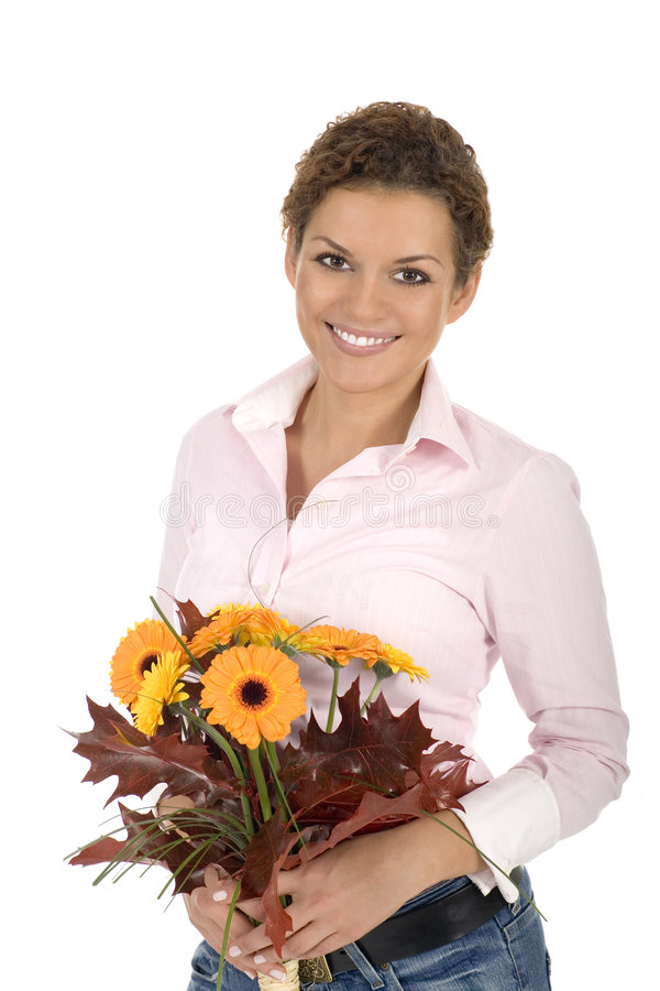 Woman holding bunch of flowers royalty free stock photo