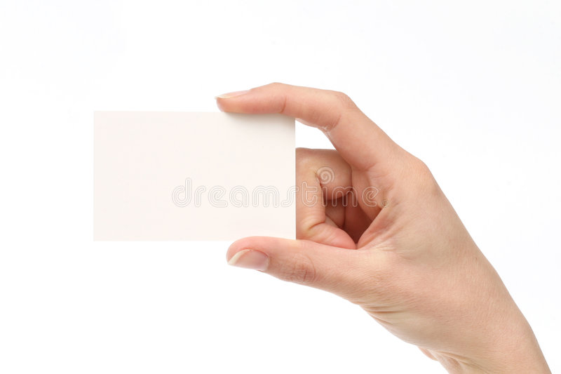 Woman holding a business card stock photography