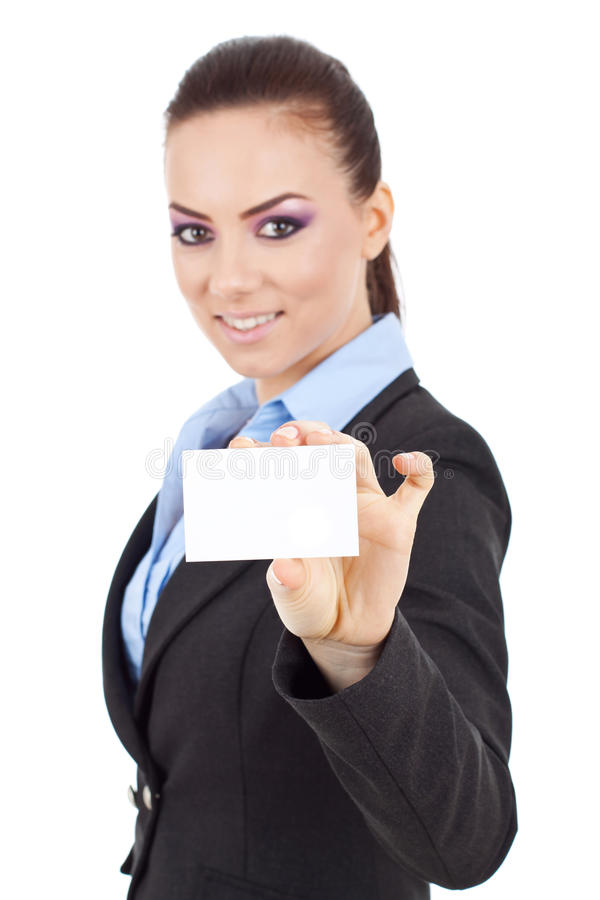 Woman holding business card stock image