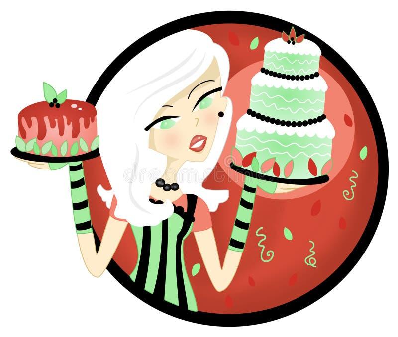 Woman Holding Cake Display Royalty Free Stock Image