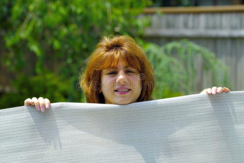 Woman Holding Canvas Stock Photos