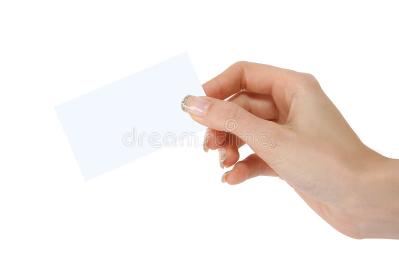 Woman holding card royalty free stock image