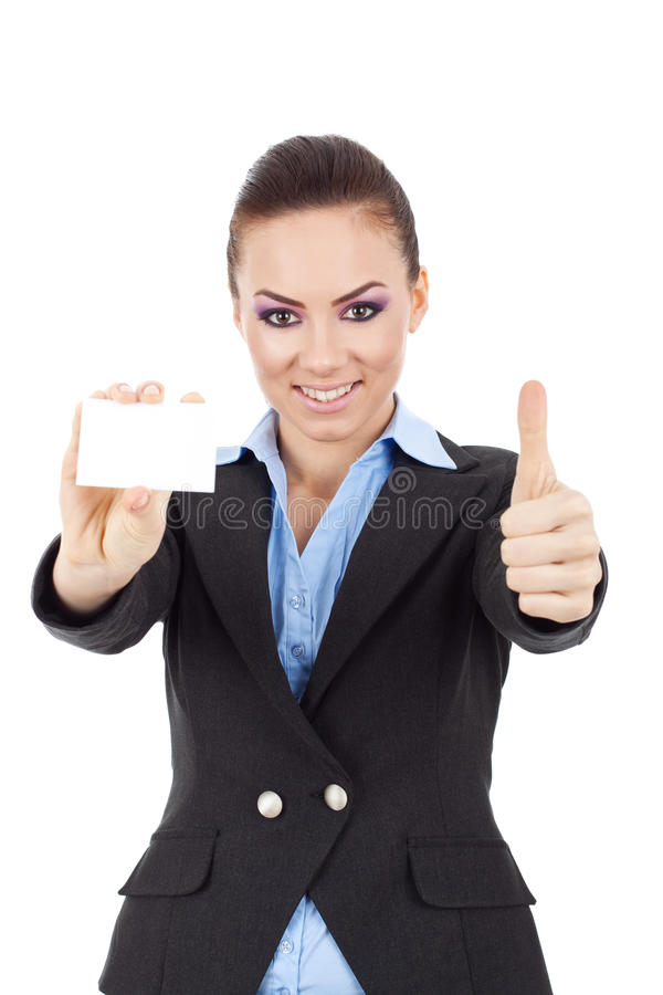 Woman holding card thumbs up stock photos