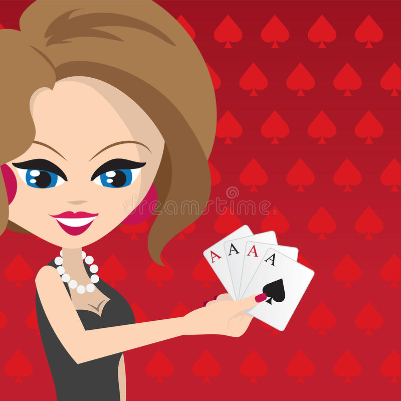 Woman Holding Cards. Woman holding 4 aces with red spades background royalty free illustration
