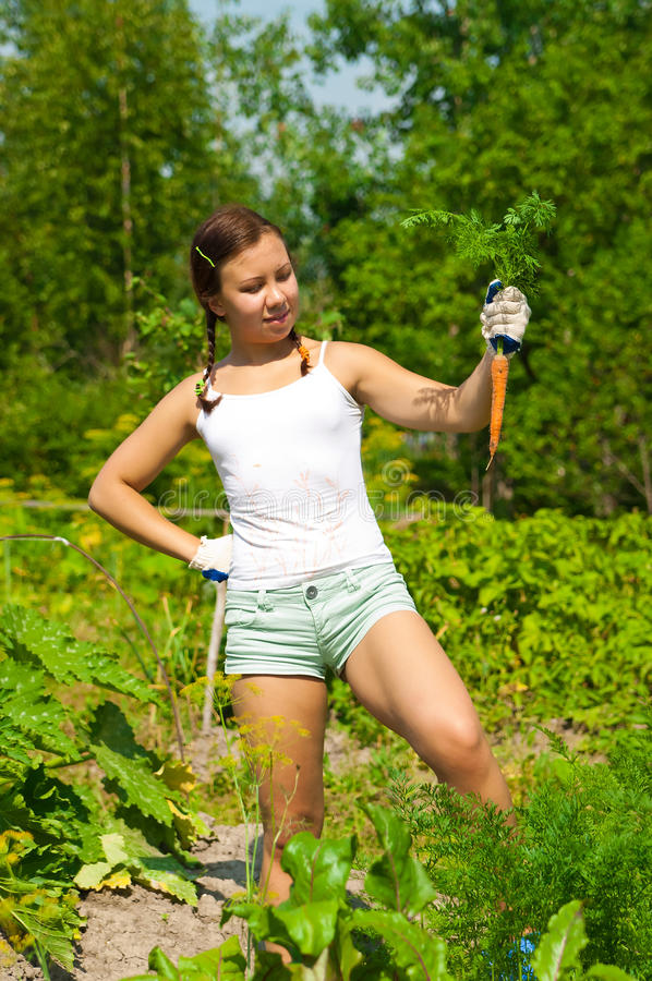 Woman Holding Carrot royalty free stock image