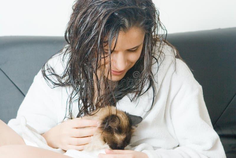 Woman Holding Cat Stock Photo