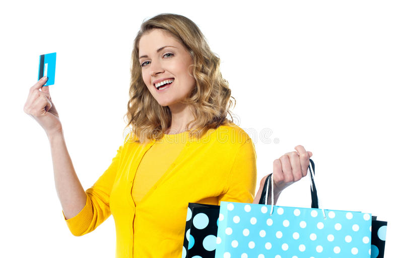 Download Woman Holding Cerdit-card With Shopping Bags Stock Image - Image: 24320091
