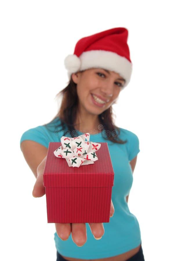 Woman Holding Christmas Gift Royalty Free Stock Image
