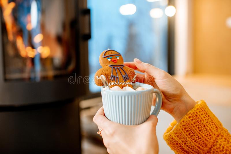 Woman holding christmas gingerbread nnear the fireplace stock image