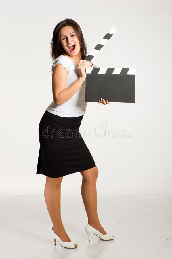 Download Woman holding a clapper stock photo. Image of female - 18139498