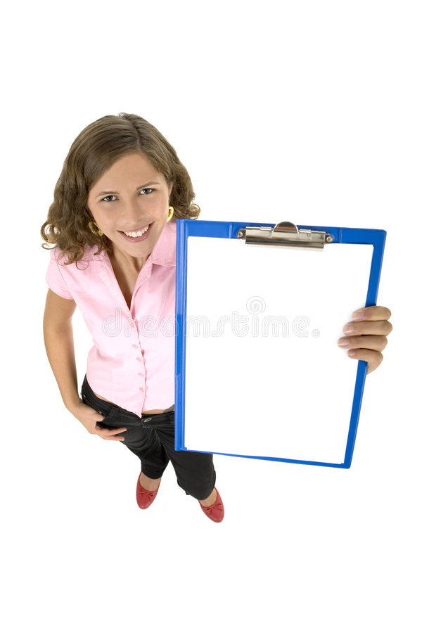 Woman holding clipboard royalty free stock photos