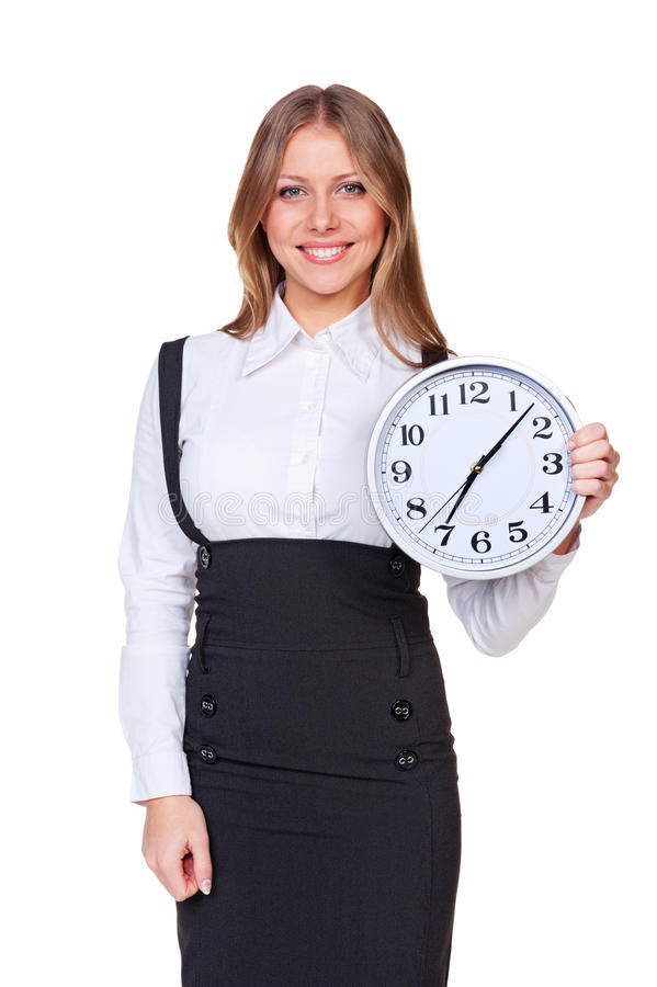 Download Woman Holding The Clock And Looking At Camera Stock Image - Image: 27480065