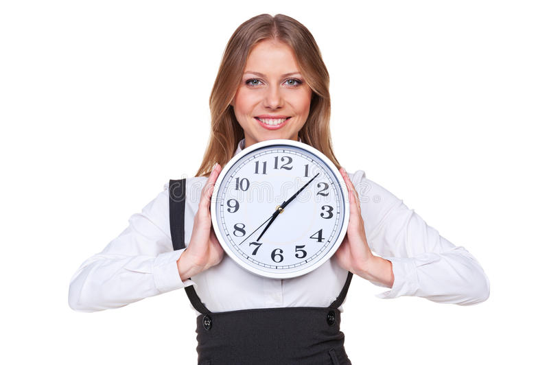 Download Woman Holding The Clock And Smiling Stock Image - Image: 27341805