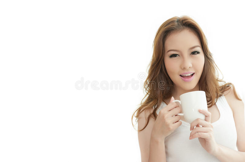 Woman holding Coffee cup on white Background text space stock image