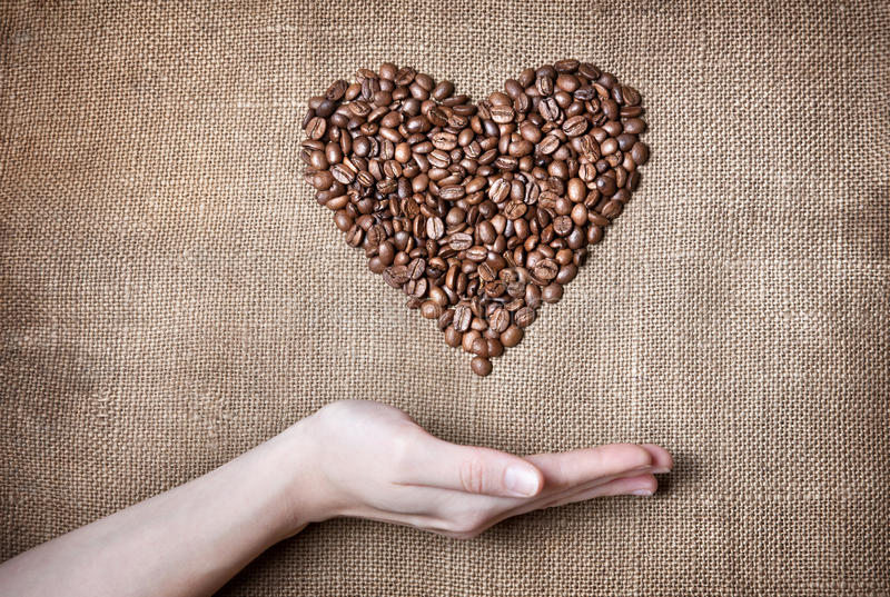 Woman holding coffee Heart royalty free stock photos