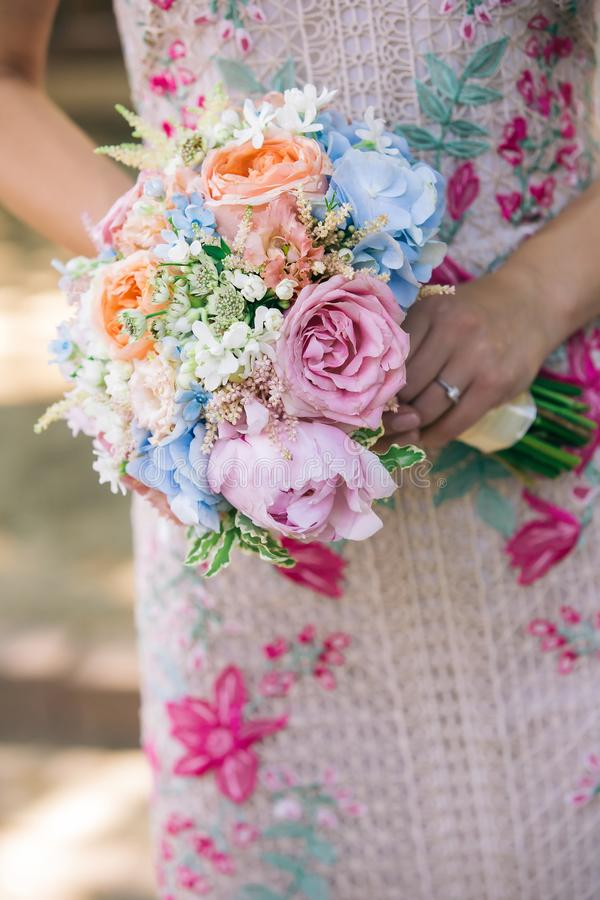 Colorful engagement bouquet closeup royalty free stock photography