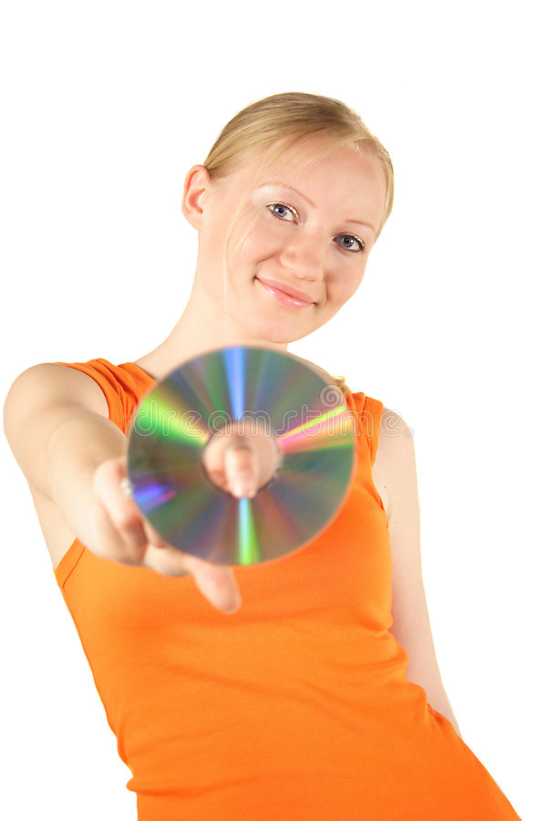 Woman holding compact disk royalty free stock photos