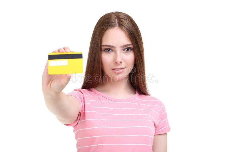 Woman holding credit card royalty free stock photo