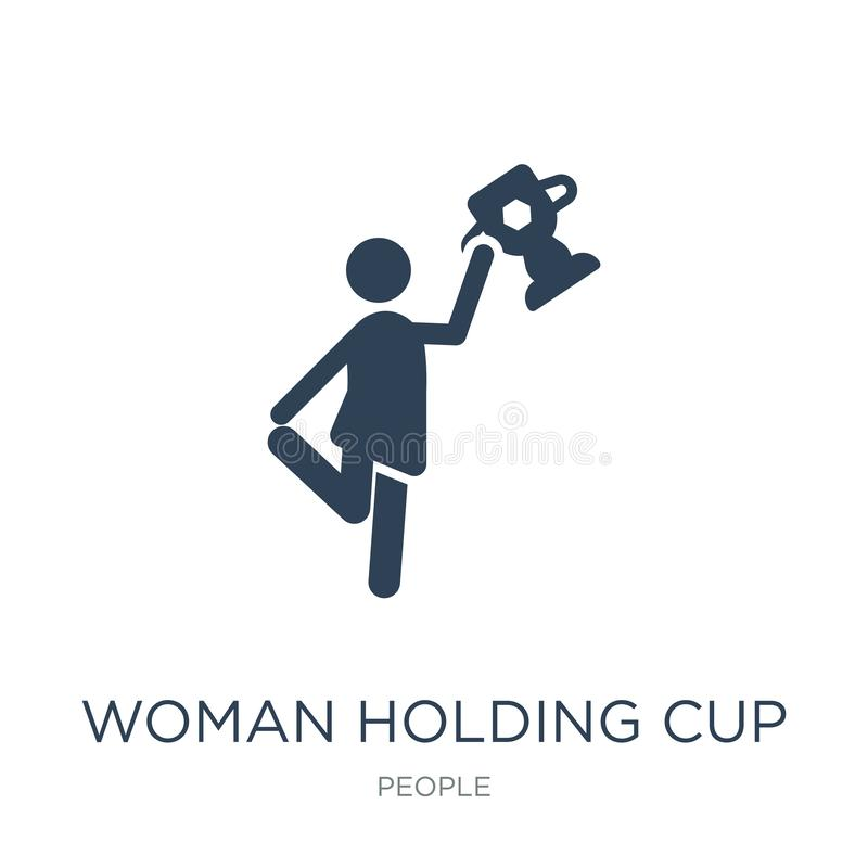 Woman holding cup icon in trendy design style. woman holding cup icon isolated on white background. woman holding cup vector icon. Simple and modern flat symbol royalty free illustration