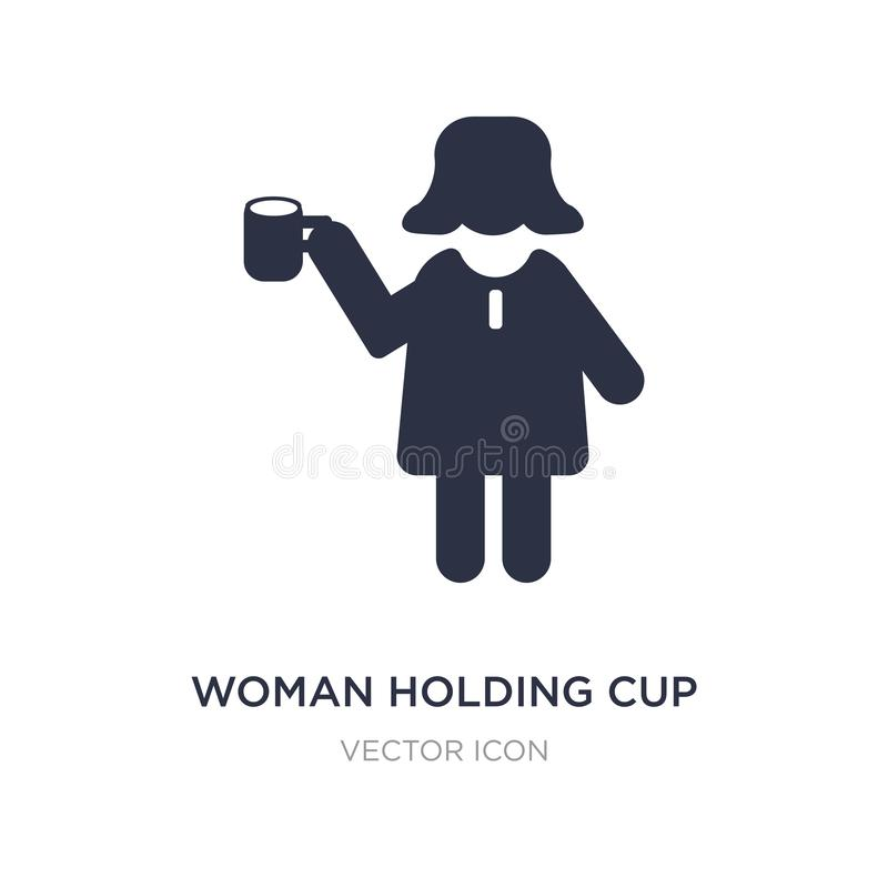 Woman holding cup icon on white background. Simple element illustration from People concept. Woman holding cup sign icon symbol design vector illustration