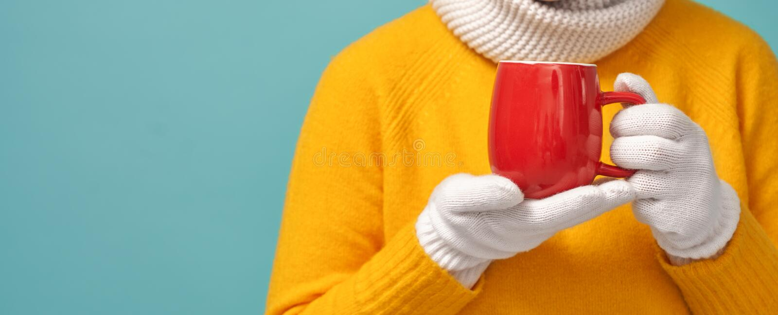 Woman holding a cup of warm drink. Winter portrait of young woman wearing knitted gloves, scarf and sweater. Girl holding a cup of warm drink on bright teal stock photo