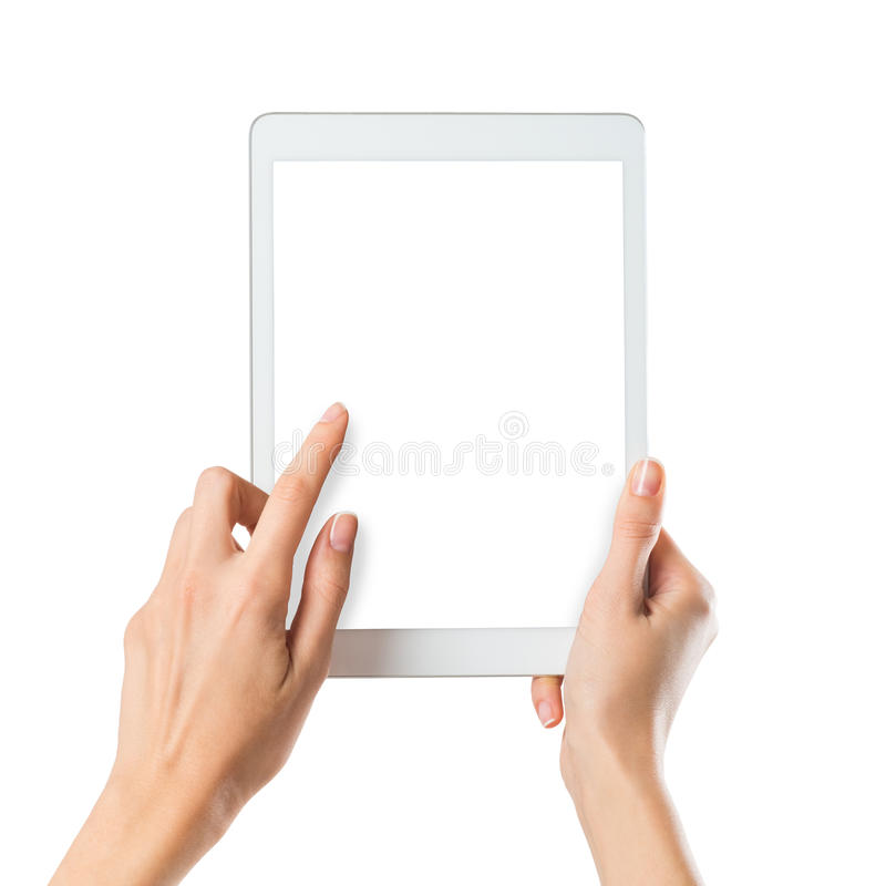 Free Woman Holding Digital Tablet Stock Image - 55415541