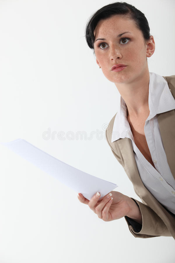 Woman holding a document royalty free stock photos