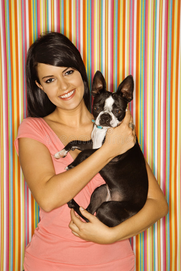 Download Woman holding dog. stock image. Image of color, short - 2045687