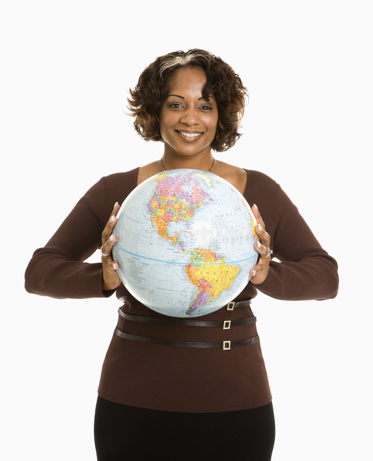 Woman holding earth. stock photo